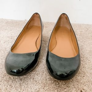 J. Crew Black Patent Leather Ballet Kitten Heels 8